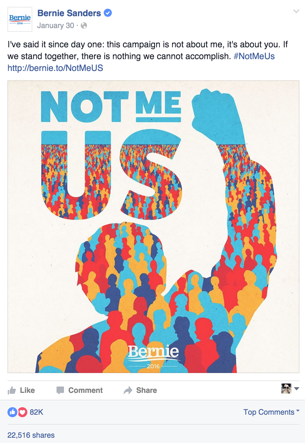 Bernie Sanders Facebook Post - Not Me Us