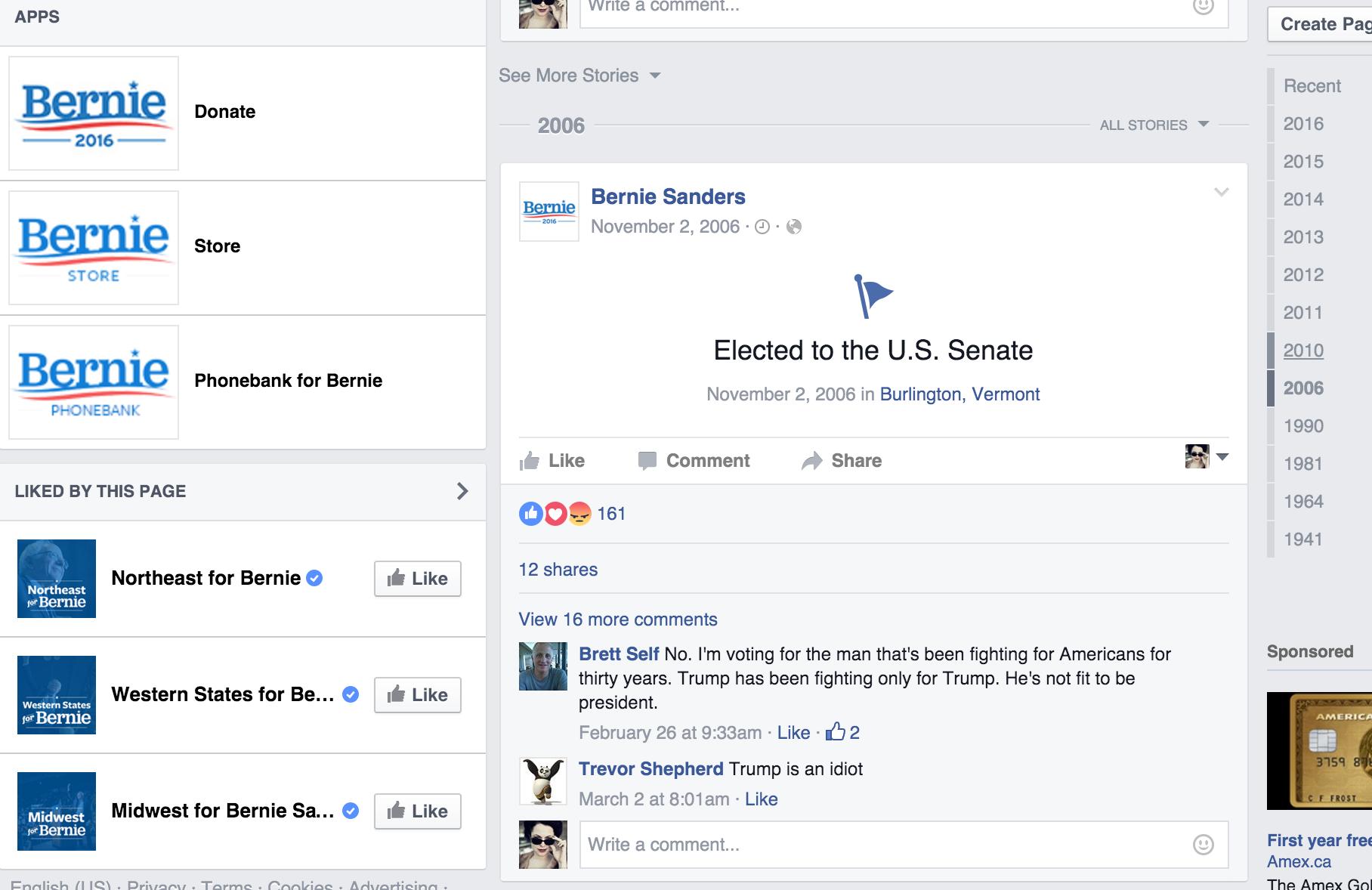 Bernie Sanders' Facebook Page